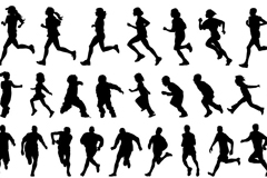 跑步人物剪影矢量素材