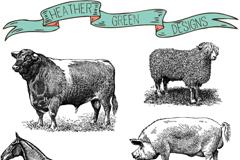 手绘农场家畜矢量素材