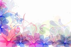 淡彩花朵背景矢量素材