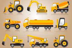 黄色重型车辆矢量素材