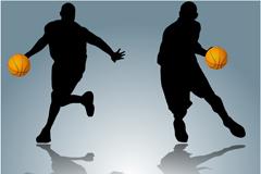动感篮球运动剪影矢量素材