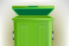 绿色垃圾桶矢量素材