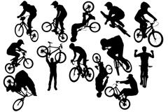 自行车越野运动剪影矢量素材