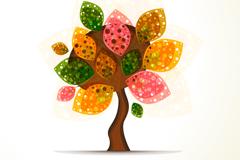 彩色抽象秋季树矢量素材