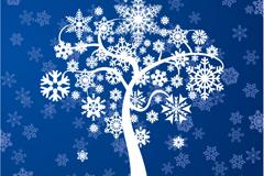 冬季雪花树矢量素材