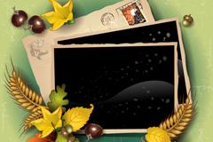 秋季相片信件背景矢量素材