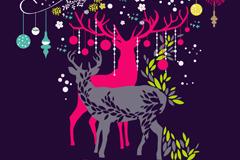 彩绘麋鹿矢量素材