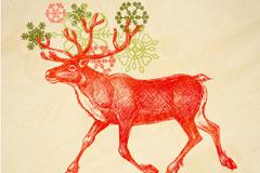 手绘风格麋鹿矢量素材