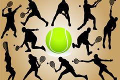 网球运动剪影矢量素材