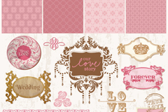 复古粉色婚礼装饰元素矢量素材
