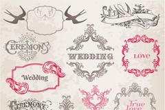 复古婚礼花纹边框矢量素材