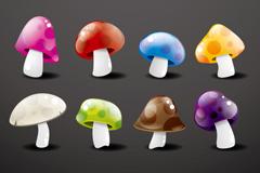 缤纷水晶蘑菇矢量素材