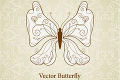 手绘线条蝴蝶矢量素材
