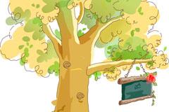 卡通大树和告示牌矢量素材