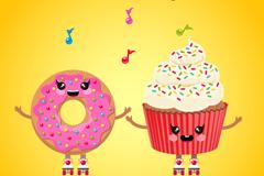 卡通甜甜圈甜品矢量素材