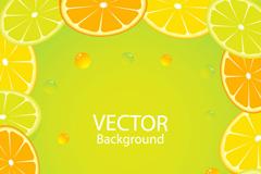 柠檬橙子背景矢量素材