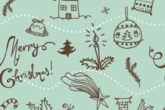 童趣圣诞元素插画矢量素材