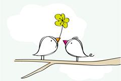 手绘枝头小鸟矢量素材