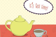 简洁下午茶插画矢量素材