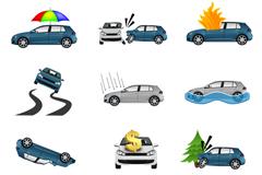 创意汽车保险图标矢量素材