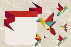 创意蜂鸟折纸背景矢量素材