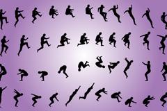 创意男子跳跃运动剪影矢量素材