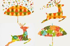创意麋鹿雨伞插画矢量素材