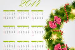 2014圣诞花环年历矢量素材