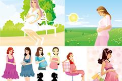 卡通孕妇插画矢量素材