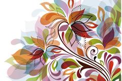 抽象花卉插画背景矢量素材