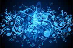 炫酷蓝色音符背景矢量素材