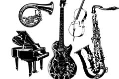 手绘音乐器材矢量素材