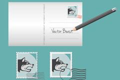 野兽邮票明信片矢量素材