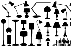 23款灯具剪影矢量素材