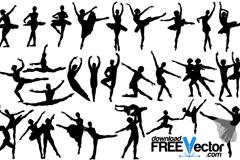 25款芭蕾舞者剪影矢量素材