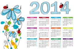 清新花朵年历矢量素材