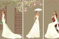 优雅卡通婚纱新娘矢量素材