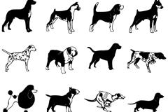 12款短毛犬设计矢量素材