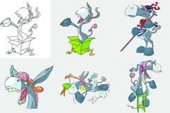 彩绘快乐的毛驴插画矢量素材