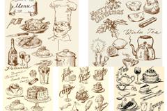 复古手绘食品矢量素材