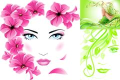 创意花卉女子头像矢量素材