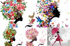 5款缤纷花卉女子插画矢量素材
