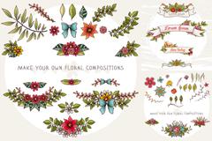 清新花朵装饰矢量素材