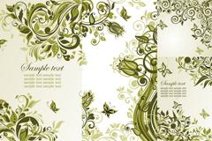 优雅绿色花蔓背景矢量素材