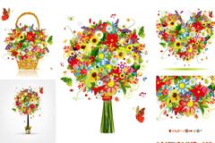 5款精美缤纷花卉插画矢量素材