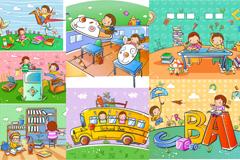 7款卡通儿童插画矢量素材