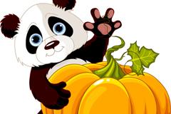 卡通抱南瓜熊猫矢量素材