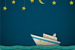 创意夜间航海剪贴画矢量素材