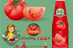 创意卡通番茄酱海报矢量素材
