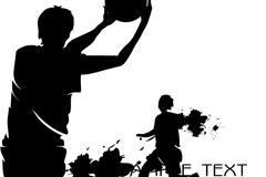 黑色喷绘篮球运动剪影矢量素材